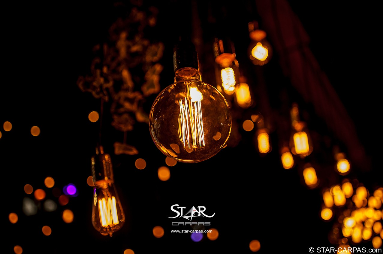 www.STAR-CARPAS.com guirnaldas colgantes bombillas vintage edison eddisson edisson alquiler bodas eventos