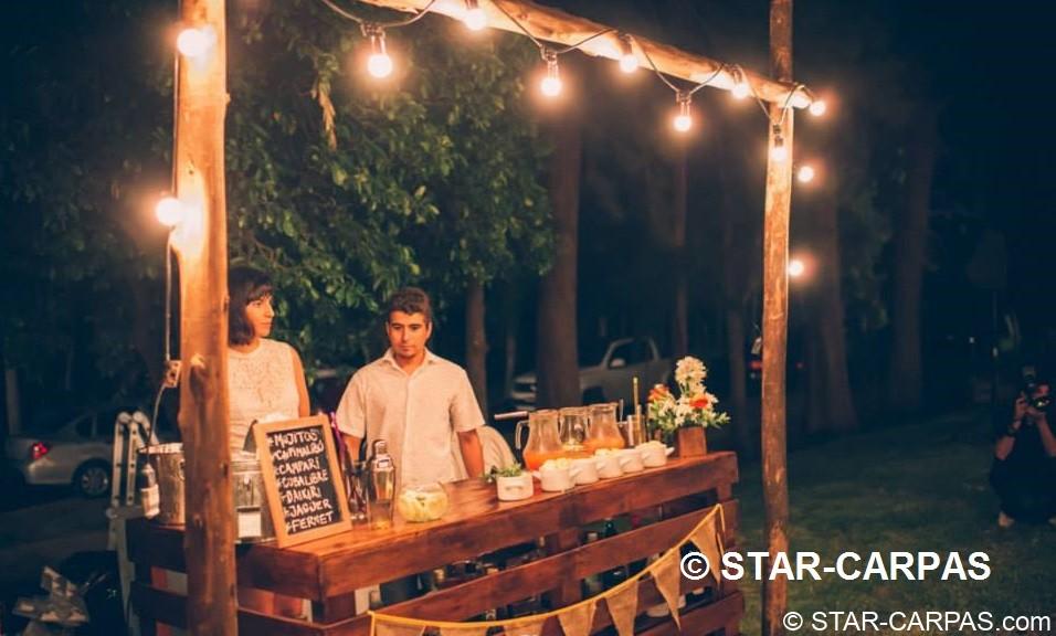 alquiler Barra/Mostrador Vintage de madera con  iluminación guirnaldas para bodas eventos copas barra libre