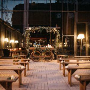 Bancos de madera 300cm ceremonia evento rustico