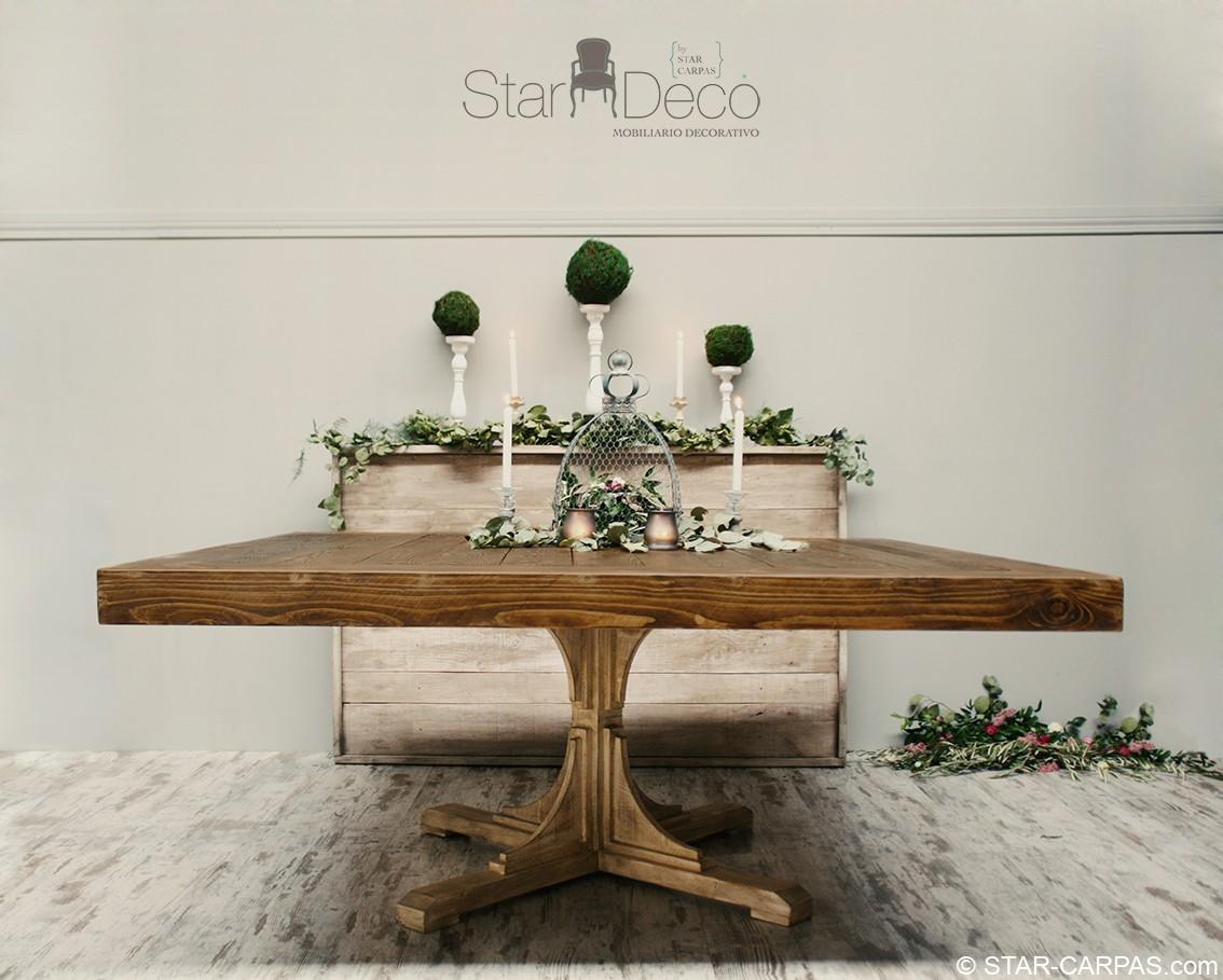 Mesa de madera cuadrada star carpas for Mesa de camping de madera
