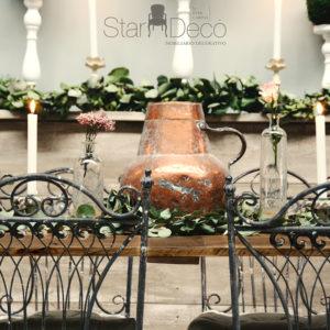 Alquiler Mesa Madera rectangular corrida vista banquete bodas eventos rustica Boho Chic Vintage Imperial Industrial