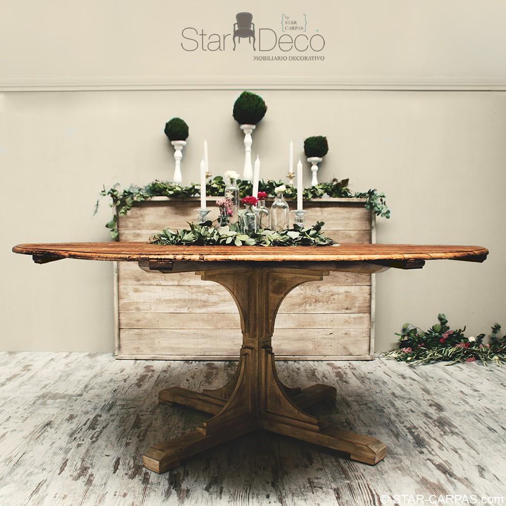 Mesa de madera redonda star carpas for Mesa de picnic madera