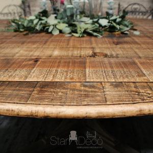Alquiler de mesa de madera vista redonda para banquete