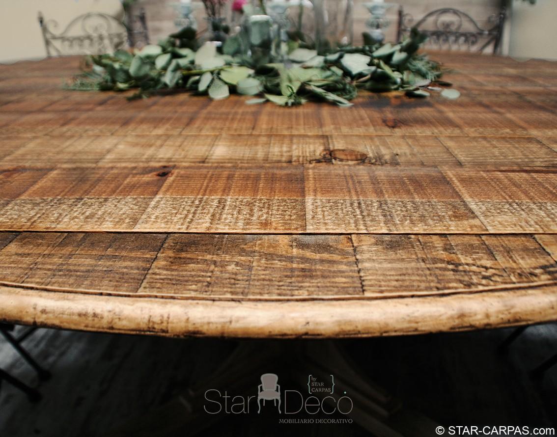 Mesa de madera redonda star carpas for Mesa redonda madera