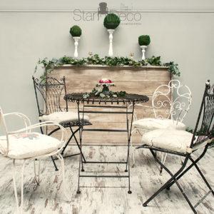 Alquiler Saloncito forja Boho Vintage jardin boda eventos mobiliario vintage industrial chic campero deco