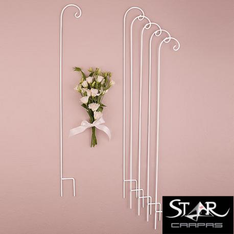 gancho porta arreglos faroles jaulas bouquets flores boda ceremonia pasillo decoración forja