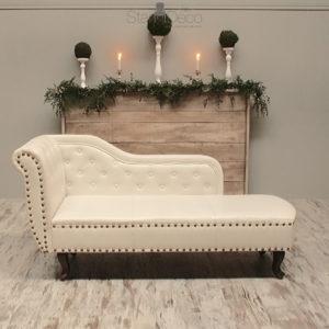 Chaise Lounge Piel blanca