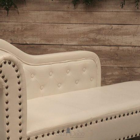 Chaise Lounge Piel blanca 3