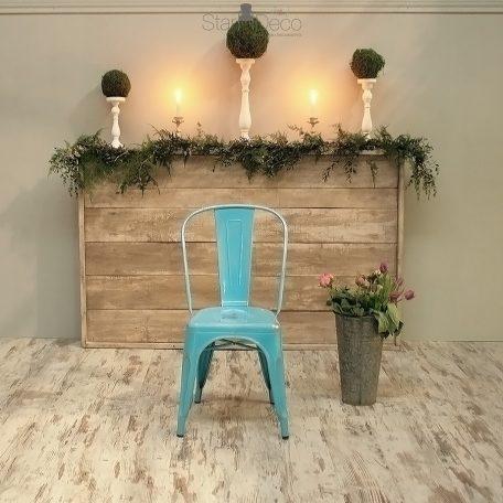 alquiler mobiliario retro vintage bodas eventos silla tolix acero azul vintage industrial