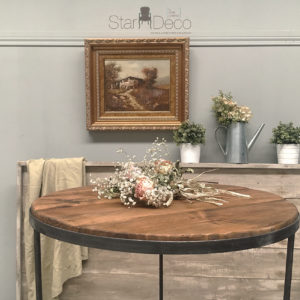 Mesa alta estilo Boho de madera y metal