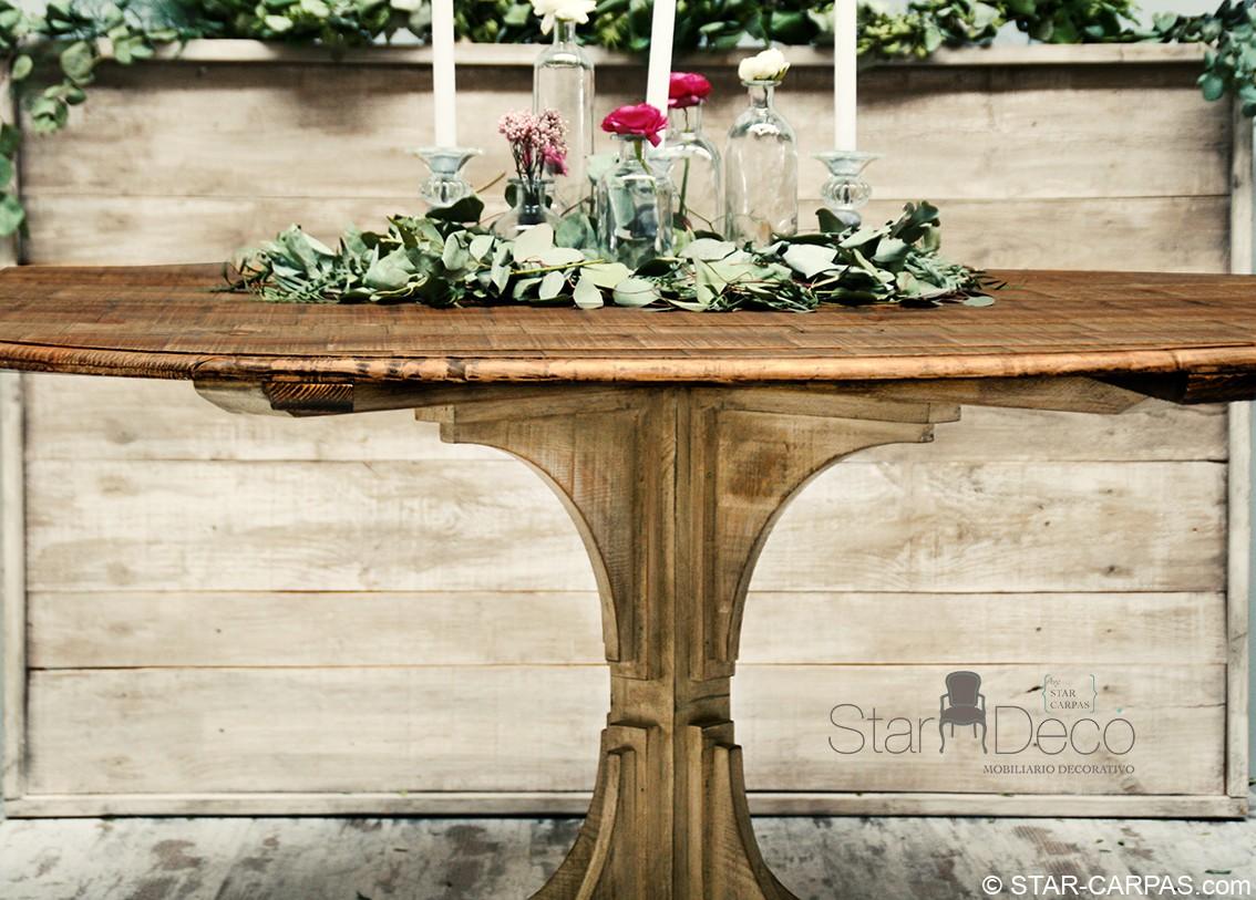 Mesa de madera redonda star carpas for Mesa de camping de madera